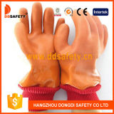 PVC d'orange de Ddsafety 2017 lisse/gant de finition de Sandy avec la doublure acrylique de boa