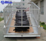 Cage (HTT-105)를 가진 Quailty Galvanized Double Wheels Hydraulic Tipping Trailer