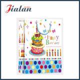 Sac de papier stratifié mat de cadeau de gâteau de joyeux anniversaire de papier en ivoire