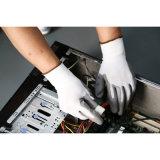Запястье руки Knit вкладыша 13 датчиков белое Nylon. Белые перчатки PU покрытые на персте (DPU101)