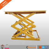 Ce de carga de tijera Plataforma de elevación para ser usado mercancías en almacén