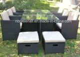Cubo multifunzionale del poggiapiedi che pranza la mobilia esterna stabilita del giardino del rattan