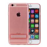 3つのカラーiPhone 6sのための透過ピンクの黒く柔らかく完全な電話カバー