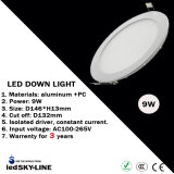 9W LED Round Down Light mit external Driver AC85-265V