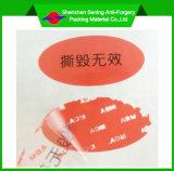 Escritura de la etiqueta inalterable adhesiva del cartón con la insignia de Cutomised