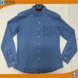 方法デニムのワイシャツの細い綿の長い袖のジーンの印刷のワイシャツ