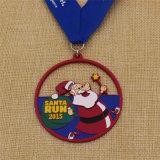 Medalla de encargo de la corrida de Santa del metal de la cinta con color azul