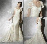 Краткость Mermaid мантий Cream шнурка Bridal Sleeves платья венчания W176286