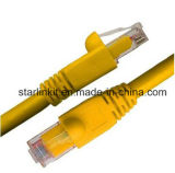 Amarelo de cobre puro encalhado CAT6A do cabo do cabo de correção de programa de Snagless UTP