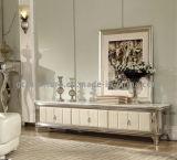 Stand blanc du marbre TV avec le modèle chaud de vente de bâti argenté d'acier inoxydable