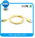 Cable de carga del USB del cable de 2016 nuevos datos de oro para el iPhone