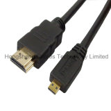 cabo chapeado ouro do PVC micro HDMI de 33FT