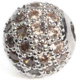 Het zilver bedekt de Micro van het Messing van CZ bedekt de Parels van Rondelle van het Zirkoon van het Kristal