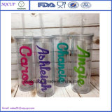 BPA Free Acrylic Plastic und Mugs Drinkware Type Personalized Transparent Acrylic Plastic Straw Mug Tumbler mit Straw und Lid