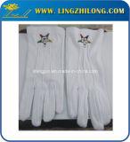 Freimaurerstickerei-Firmenzeichen-weiße Baumwollhandschuhe