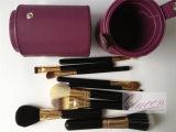 Комплект щетки ручки 9PCS черноты цилиндра горячего сбывания пурпуровый косметический