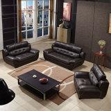Sofá moderno do couro genuíno da sala de visitas 1+2+3