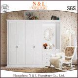 Garde-robe en bois de taille de chambre à coucher de couleur blanche modulaire de meubles