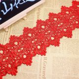 Cordón suizo de Soluable del agua del bordado de la venta al por mayor de las existencias de la anchura del cordón el 10.5cm para la ropa y las materias textiles caseras