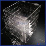 Cosmético de cristal desobstruído do acrílico do organizador da composição das gavetas do indicador