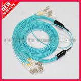 Cabo Pre-connectorized Multimode da fibra óptica do PVC do múltiplo de LC-LC
