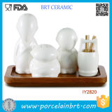 Cool Monk-Like Ceramic Shakers e Toothpick Holder Tool Set