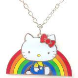 Gattino smaltato Handmade della lega placcato argento ciao con la collana variopinta del Rainbow