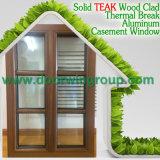 Ventana de madera de aluminio del último diseño, inclinación de aluminio de madera/toldo/ventana de la tolva con la parrilla ligera dividida llena