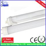 100lm/W tubo fluorescente de aluminio de la cubierta los 0.6m 9W T8 LED