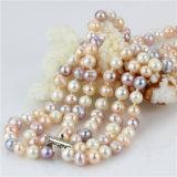 Snh 8-9m m una venta al por mayor multicolora del collar de la perla de las filas del grado 3