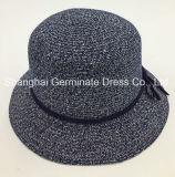 Brim шлема сторновки женщин способа бумажный широкий с полосой Sh060 кроны PU кожаный