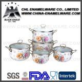 Jogo do Cookware do ferro de molde do esmalte do decalque da flor do fornecedor 5PCS de China