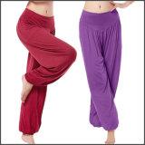 L'yoga dell'OEM ansima 2016 pantaloni su ordinazione allentati di yoga dell'alto cotone modale della vita delle donne
