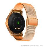 Téléphone intelligent rond de montre d'écran tactile de qualité avec le détecteur de fréquence cardiaque