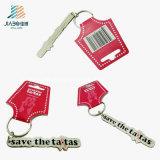 Lettera su ordinazione Keychain di colore rosso dello smalto del regalo di promozione con cuoio