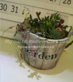 Flowerpot отделки модной конструкции круглый, котор сгорели деревянный в деревенском Lookf
