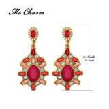 여자 금 색깔 매다는 귀걸이를 위한 사치품에 의하여 채워지는 분홍색 아크릴 모조 다이아몬드 하락 귀걸이