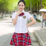 L'uniforme scolaire élevé conçoit la chemise et la jupe pour des filles