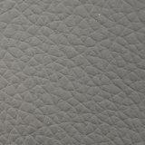 Couro cinzento da bagagem do couro artificial do PVC do cinza da certificação Z008 Lychee do ouro do GV