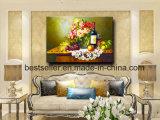 大きいアートワークのキャンバス、静物画の花の手塗りの油絵