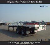 タンデム車軸ボギーSuspension12.5メートルのバルク貨物または容器輸送のための側面の低下の壁そして棒が付いている平面トラックのトレーラー