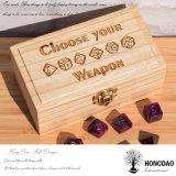 Hongdao hecho a mano caja de regalo de madera de color natural grabado Logo Wooden Trinket Box _E