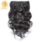 Двойной Weft зажим в волнистом зажиме человеческих волос черных волос выдвижений человеческих волос на выдвижениях реальный естественный зажим волос любая длина