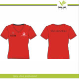 Kundenspezifisches Sport T-Shirt/Round Neck T-Shirt/Red T-Shirt für Women (F83)