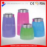 多彩なガラス食糧容器は4つの習慣のクッキー用の瓶の装飾的な気密のガラス瓶をセットした
