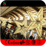 Luzes decorativas ao ar livre do motivo da estrela do Natal 3D do diodo emissor de luz