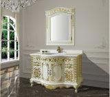 Vanité 2017 de salle de bains en bois solide de Tradtional avec le dessus de marbre fixé au sol Asv1023 de bassin simple de récipient