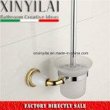 Goldluxuxchrom-Toiletten-Pinsel-Halter mit Glastrommel