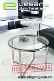 磨かれたステンレス鋼フレームの円形の緩和されたガラスのコーヒーテーブル