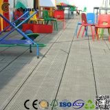 Grauer antiseptischer hölzerner zusammengesetzter Plastikdecking, imprägniern lamellenförmig angeordneten Bodenbelag, im Freienplattform-Fußboden